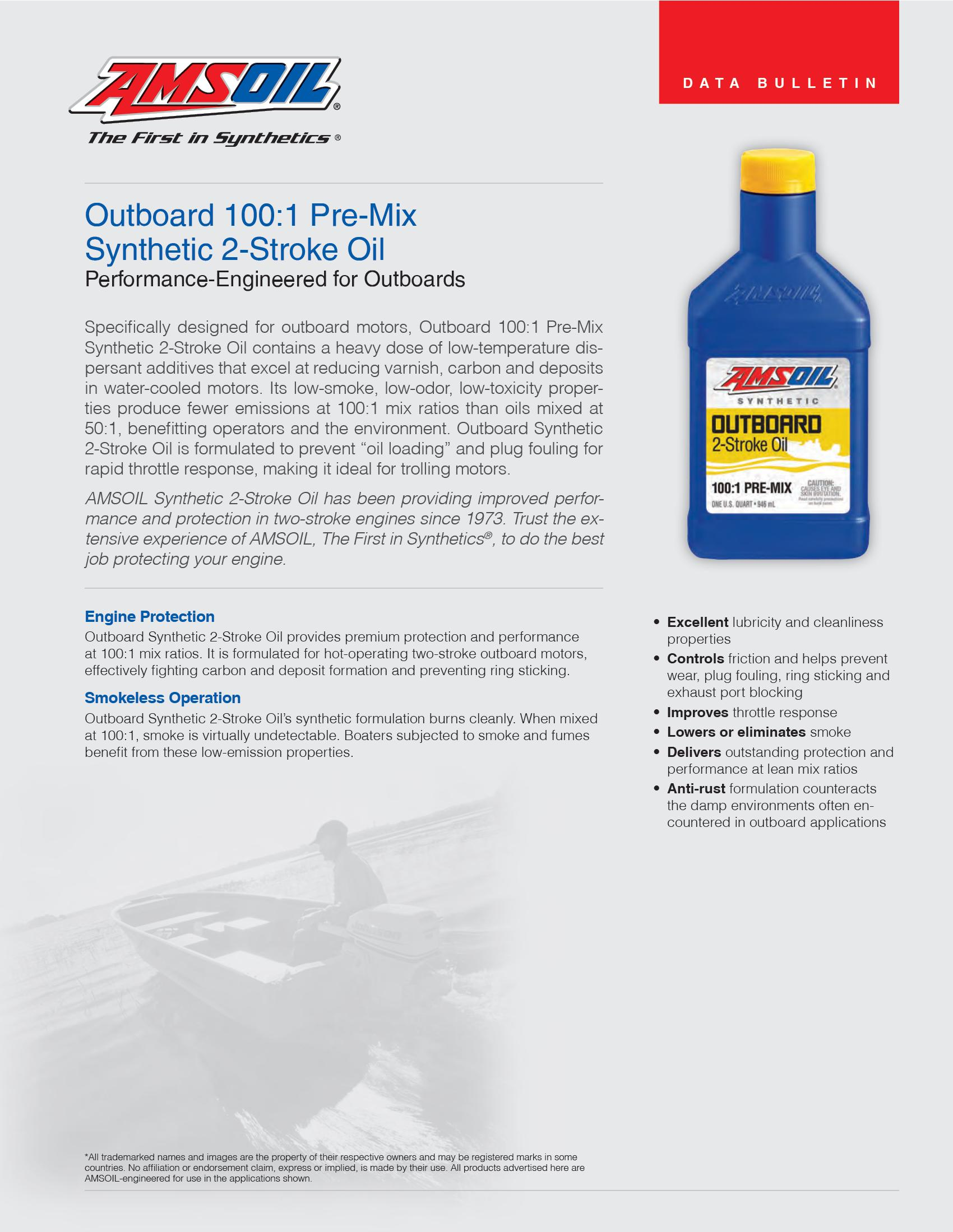 Saber® Outboard 100 Synthetic 100:1 Pre-Mix 2-Cycle Oil
